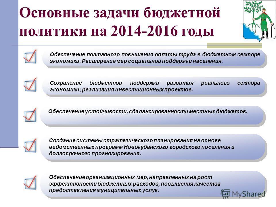 Основные задачи бюджетной политики на 2014-2016 годы Обеспечение поэтапного повышения оплаты труда в бюджетном секторе экономики. Расширение мер социальной поддержки населения. Сохранение бюджетной поддержки развития реального сектора экономики; реал