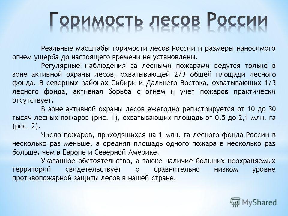 Реальные масштабы горимости лесов России и размеры наносимого огнем ущерба до настоящего времени не установлены. Регулярные наблюдения за лесными пожарами ведутся только в зоне активной охраны лесов, охватывающей 2/3 общей площади лесного фонда. В се