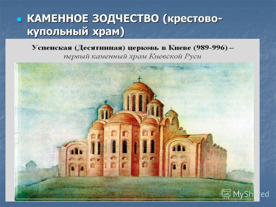 КАМЕННОЕ ЗОДЧЕСТВО (крестово- купольный храм) КАМЕННОЕ ЗОДЧЕСТВО (крестово- купольный храм)