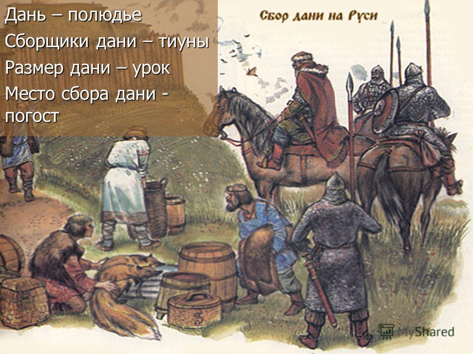 Дань – полюдье Сборщики дани – тиуны Размер дани – урок Место сбора дани - погост