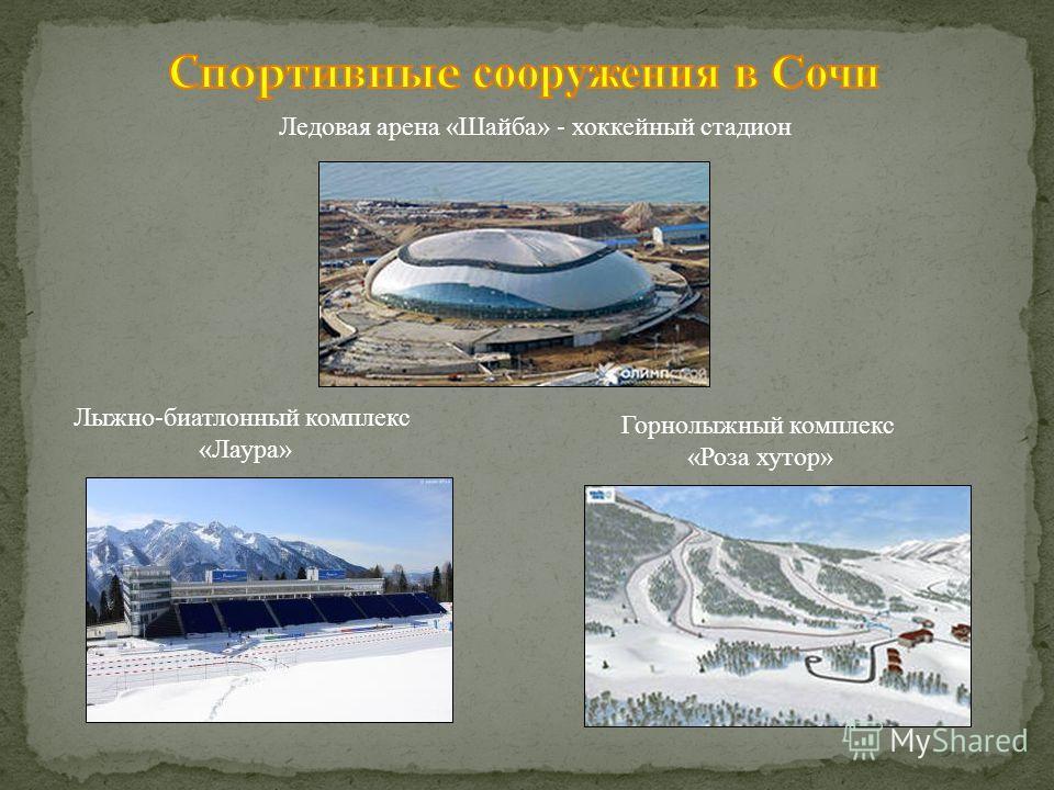 Ледовая арена «Шайба» - хоккейный стадион Горнолыжный комплекс «Роза хутор» Лыжно-биатлонный комплекс «Лаура»