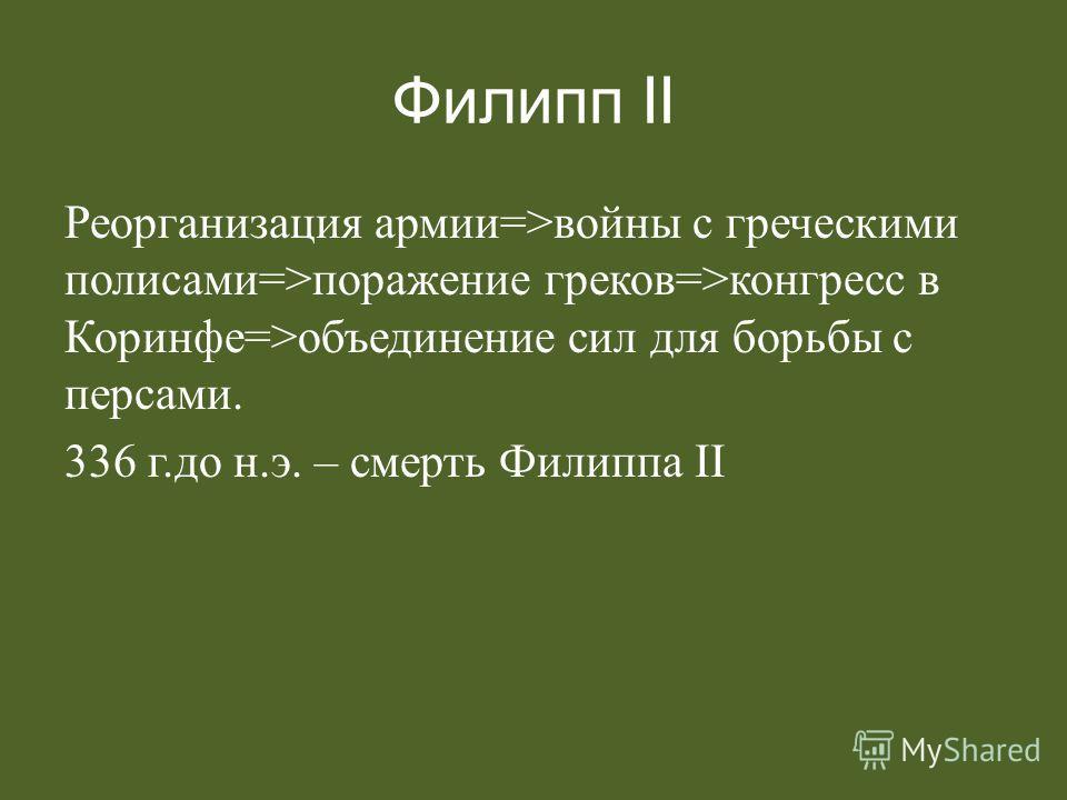 Филипп II Реорганизация армии=>войны с греческими полисами=>поражение греков=>конгресс в Коринфе=>объединение сил для борьбы с персами. 336 г.до н.э. – смерть Филиппа II