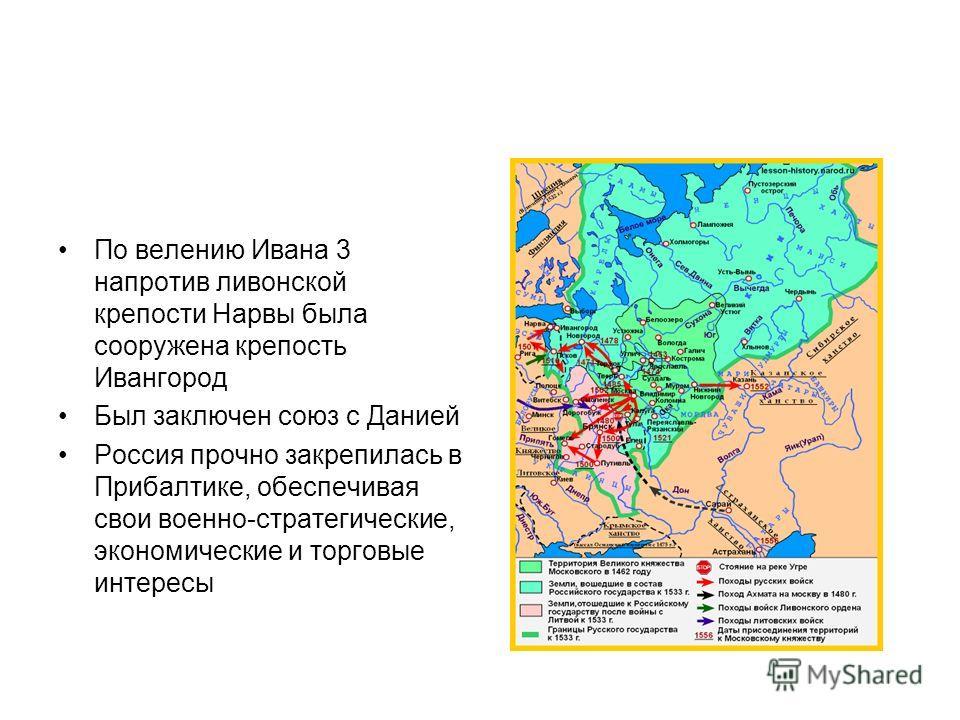 По велению Ивана 3 напротив ливонской крепости Нарвы была сооружена крепость Ивангород Был заключен союз с Данией Россия прочно закрепилась в Прибалтике, обеспечивая свои военно-стратегические, экономические и торговые интересы