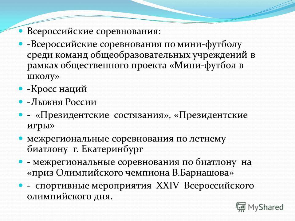 В 15 различных спортивно- массовых мероприятиях участвовало 156 обучающихся Всероссийский уровень