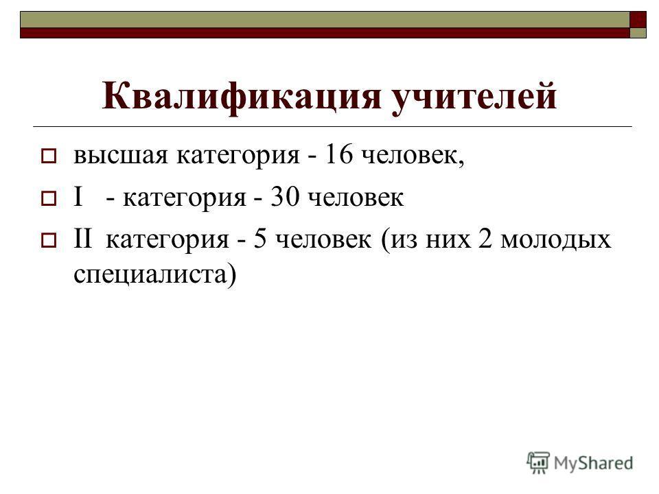 Квалификация учителей высшая категория - 16 человек, I- категория - 30 человек IIкатегория - 5 человек (из них 2 молодых специалиста)