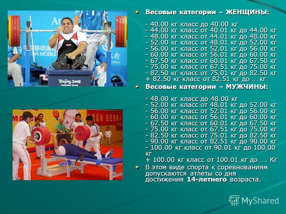 Весовые категории – ЖЕНЩИНЫ: - 40.00 кг класс до 40.00 кг - 44.00 кг класс от 40.01 кг до 44.00 кг - 48.00 кг класс от 44.01 кг до 48.00 кг - 52.00 кг класс от 48.01 кг до 52.00 кг - 56.00 кг класс от 52.01 кг до 56.00 кг - 60.00 кг класс от 56.01 кг