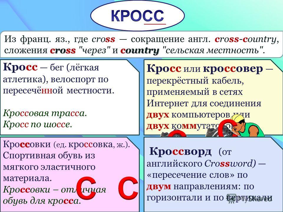 cross country Из франц. яз., где cross сокращение англ. cross-country, сложения cross