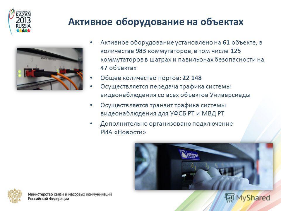 Активное оборудование установлено на 61 объекте, в количестве 983 коммутаторов, в том числе 125 коммутаторов в шатрах и павильонах безопасности на 47 объектах Общее количество портов: 22 148 Осуществляется передача трафика системы видеонаблюдения со