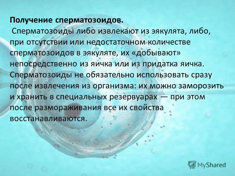 Получение сперматозоидов. Сперматозоиды либо извлекают из эякулята, либо, при отсутствии или недостаточном количестве сперматозоидов в эякуляте, их «добывают» непосредственно из яичка или из придатка яичка. Сперматозоиды не обязательно использовать с