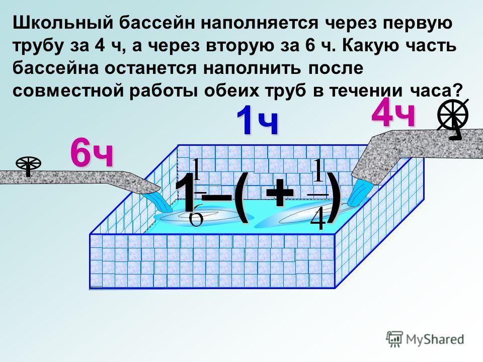 Школьный бассейн наполняется через первую трубу за 4 ч, а через вторую за 6 ч. Какую часть бассейна останется наполнить после совместной работы обеих труб в течении часа? 6ч 4ч 1ч 1–( + )