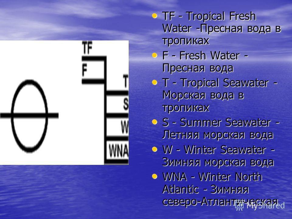 TF - Tropical Fresh Water -Пресная вода в тропиках TF - Tropical Fresh Water -Пресная вода в тропиках F - Fresh Water - Пресная вода F - Fresh Water - Пресная вода T - Tropical Seawater - Морская вода в тропиках T - Tropical Seawater - Морская вода в