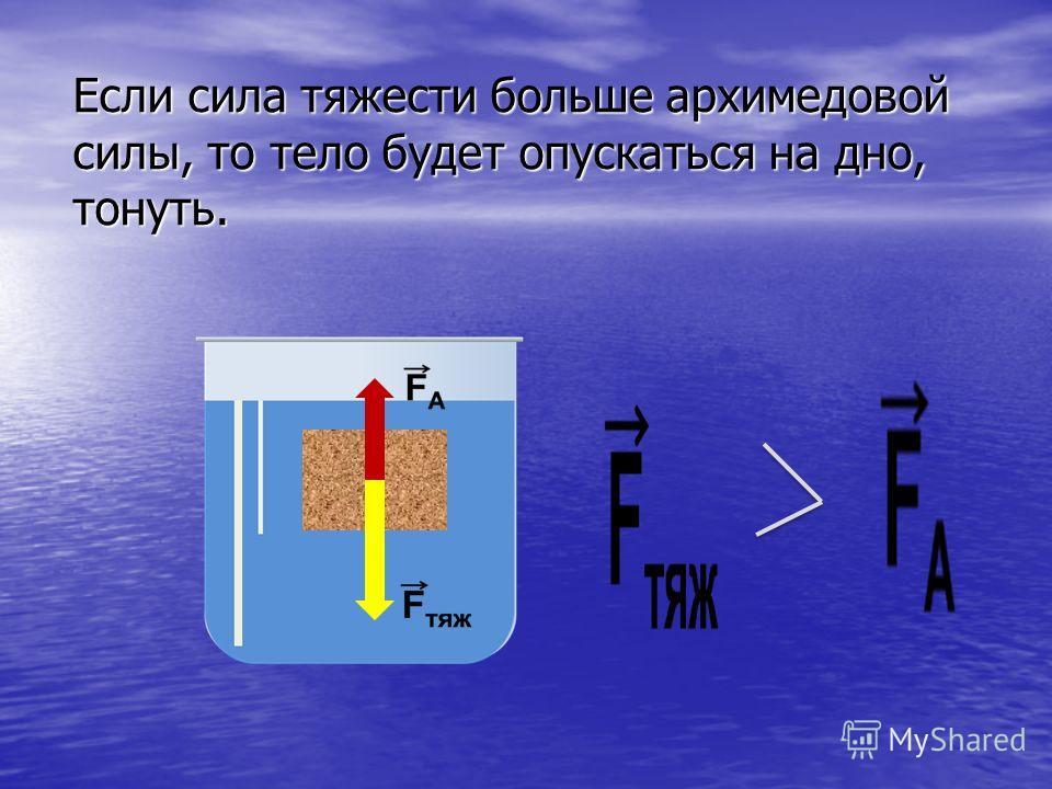 Если сила тяжести больше архимедовой силы, то тело будет опускаться на дно, тонуть.