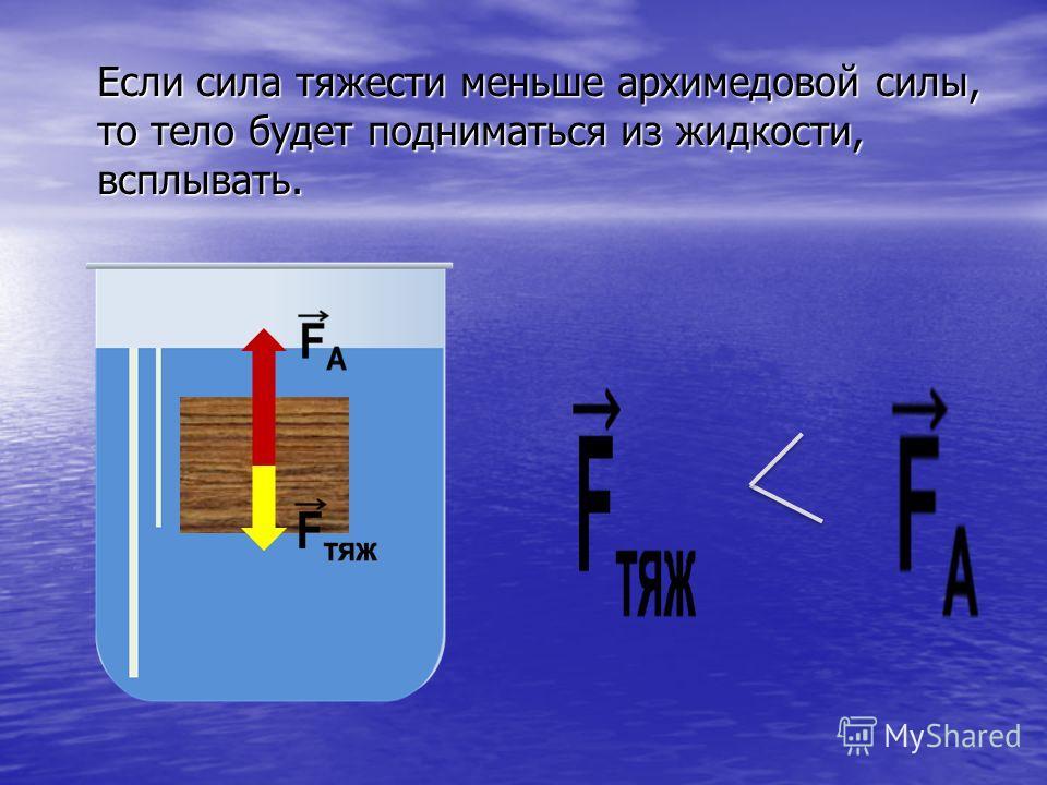 Если сила тяжести меньше архимедовой силы, то тело будет подниматься из жидкости, всплывать.