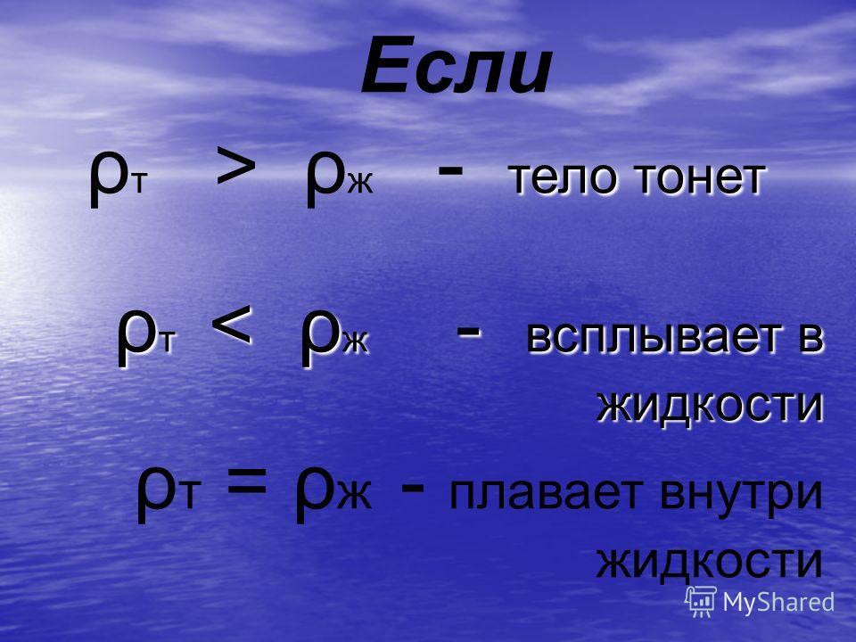 Если тело тонет ρ т > ρ ж - тело тонет ρ т < ρ ж - всплывает в жидкости ρ т = ρ ж - плавает внутри жидкости