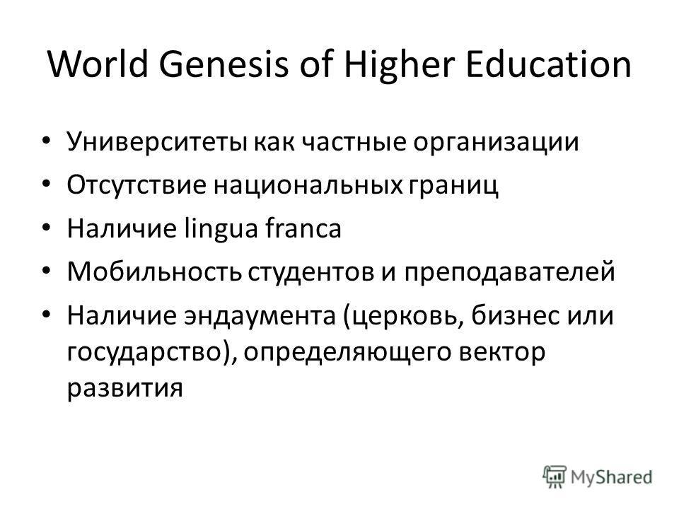 World Genesis of Higher Education Университеты как частные организации Отсутствие национальных границ Наличие lingua franca Мобильность студентов и преподавателей Наличие эндаумента (церковь, бизнес или государство), определяющего вектор развития