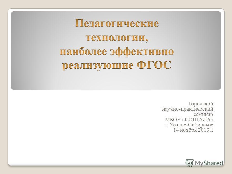 Городской научно-практический семинар МБОУ «СОШ 16» г. Усолье-Сибирское 14 ноября 2013 г.