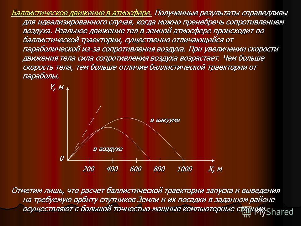 Баллистическое движение в атмосфере. Полученные результаты справедливы для идеализированного случая, когда можно пренебречь сопротивлением воздуха. Реальное движение тел в земной атмосфере происходит по баллистической траектории, существенно отличающ