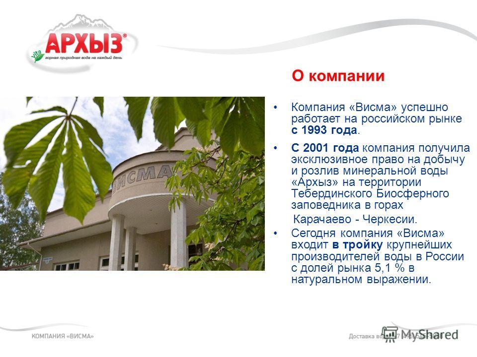 Компания «Висма» успешно работает на российском рынке с 1993 года. С 2001 года компания получила эксклюзивное право на добычу и розлив минеральной воды «Архыз» на территории Тебердинского Биосферного заповедника в горах Карачаево - Черкесии. Сегодня