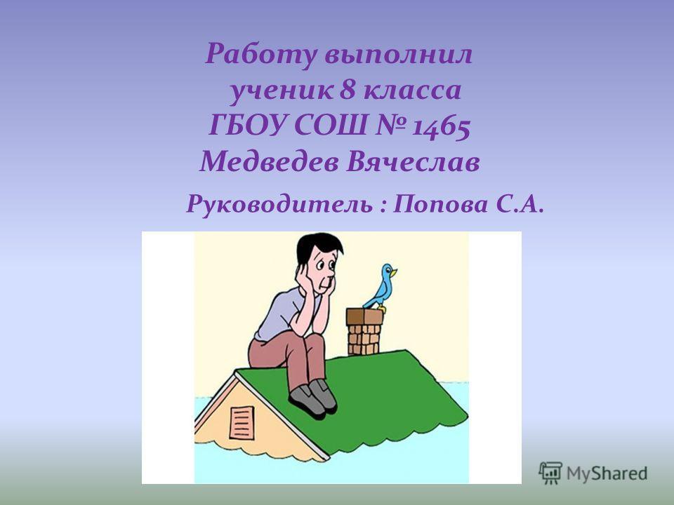 Работу выполнил ученик 8 класса ГБОУ СОШ 1465 Медведев Вячеслав Руководитель : Попова С.А.