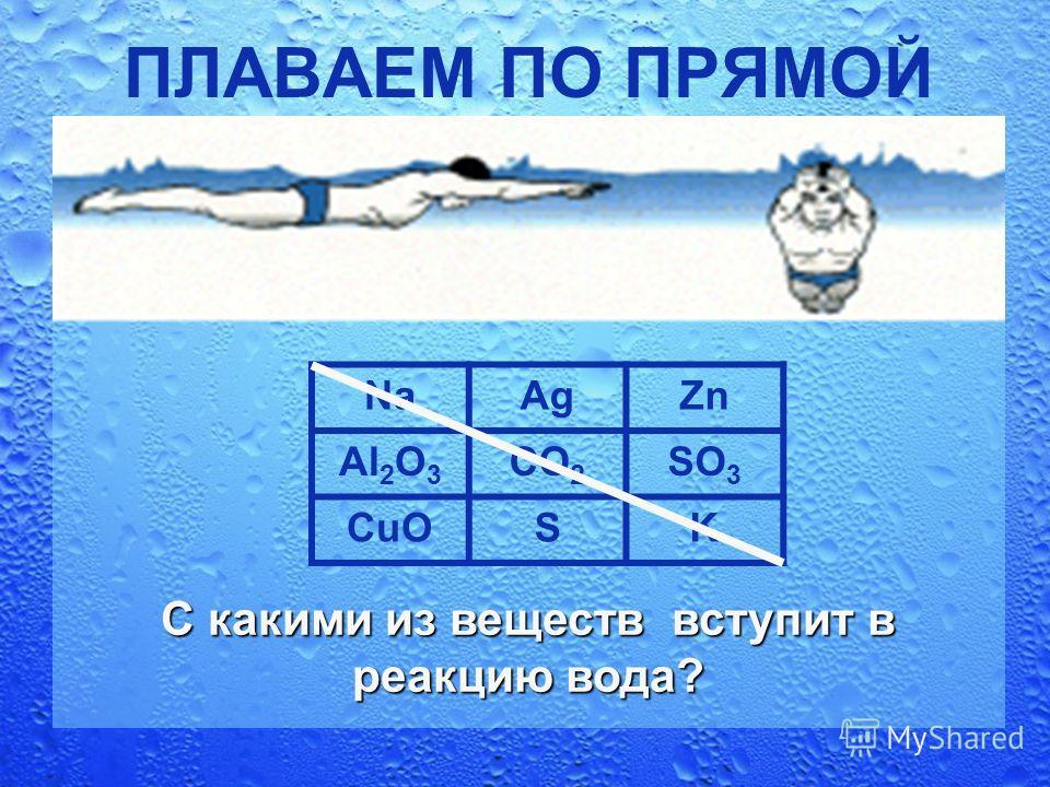 ПЛАВАЕМ ПО ПРЯМОЙ NaAgZn Al 2 O 3 CO 2 SO 3 CuOSK С какими из веществ вступит в реакцию вода?