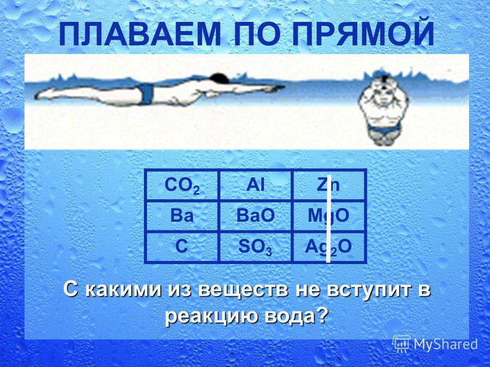 ПЛАВАЕМ ПО ПРЯМОЙ CO 2 AlZn BaBaOMgO CSO 3 Ag 2 O С какими из веществ не вступит в реакцию вода?