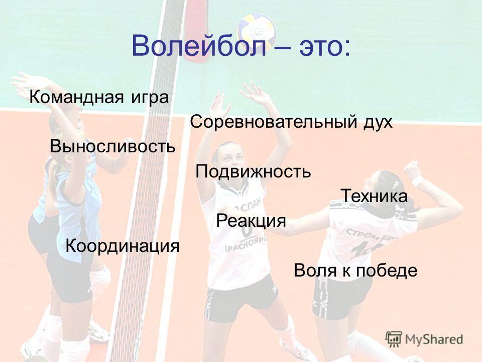 Волейбол – это: Командная игра Соревновательный дух Выносливость Подвижность Техника Реакция Координация Воля к победе