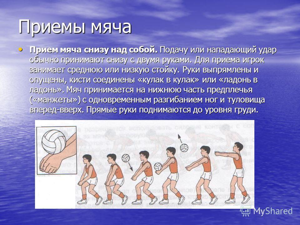 Приемы мяча Прием мяча снизу над собой. Подачу или нападающий удар обычно принимают снизу с двумя руками. Для приема игрок занимает среднюю или низкую стойку. Руки выпрямлены и опущены, кисти соединены «кулак в кулак» или «ладонь в ладонь». Мяч прини