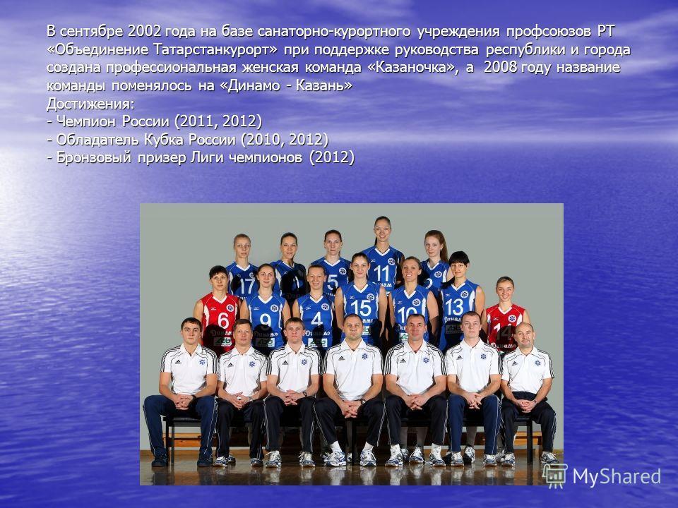 В сентябре 2002 года на базе санаторно-курортного учреждения профсоюзов РТ «Объединение Татарстанкурорт» при поддержке руководства республики и города создана профессиональная женская команда «Казаночка», а 2008 году название команды поменялось на «Д