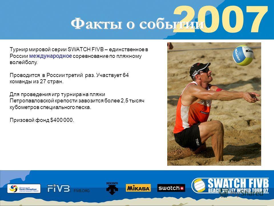 Восторженные глаза Ваших клиентов 2007 Факты о событии Турнир мировой серии SWATCH FIVB – единственное в России международное соревнование по пляжному волейболу. Проводится в России третий раз. Участвует 64 команды из 27 стран. Для проведения игр тур