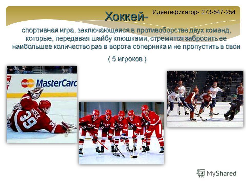 Хоккей- спортивная игра, заключающаяся в противоборстве двух команд, которые, передавая шайбу клюшками, стремятся забросить ее наибольшее количество раз в ворота соперника и не пропустить в свои ( 5 игроков ) ( 5 игроков ) Идентификатор- 273-547-254