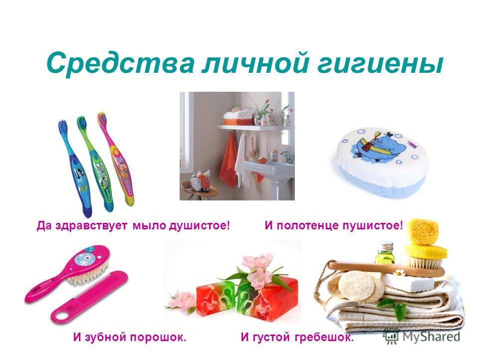 Средства личной гигиены Да здравствует мыло душистое!И полотенце пушистое! И зубной порошок.И густой гребешок.