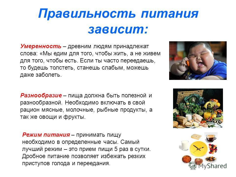 Правильность питания зависит: Умеренность – древним людям принадлежат слова: «Мы едим для того, чтобы жить, а не живем для того, чтобы есть. Если ты часто переедаешь, то будешь толстеть, станешь слабым, можешь даже заболеть. Разнообразие – пища должн