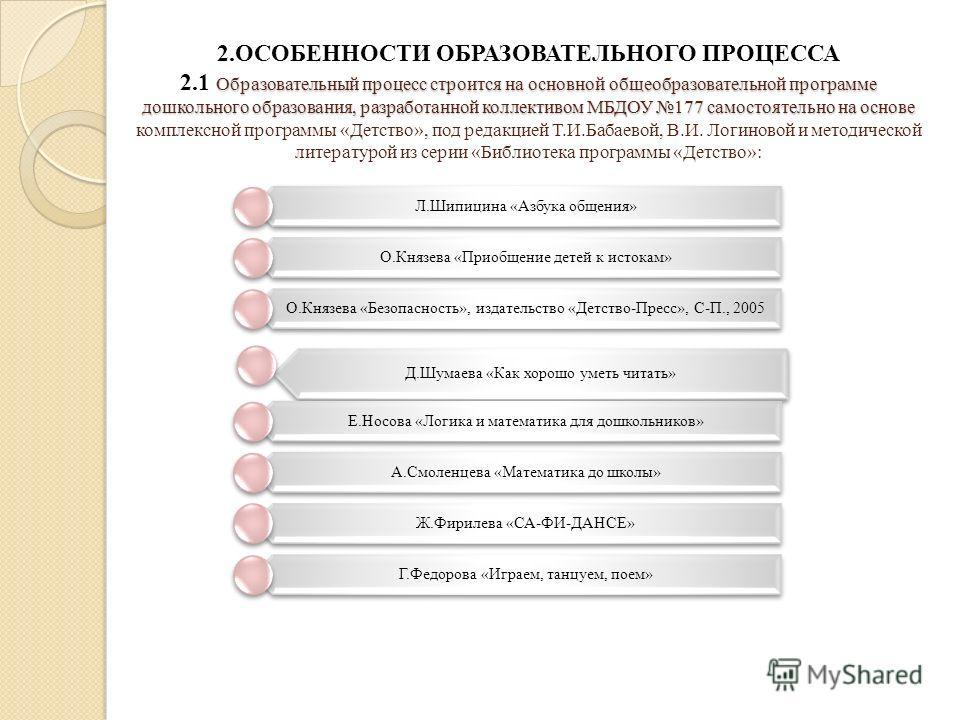 Образовательный процесс строится на основной общеобразовательной программе дошкольного образования, разработанной коллективом МБДОУ 177 самостоятельно на основе 2.ОСОБЕННОСТИ ОБРАЗОВАТЕЛЬНОГО ПРОЦЕССА 2.1 Образовательный процесс строится на основной
