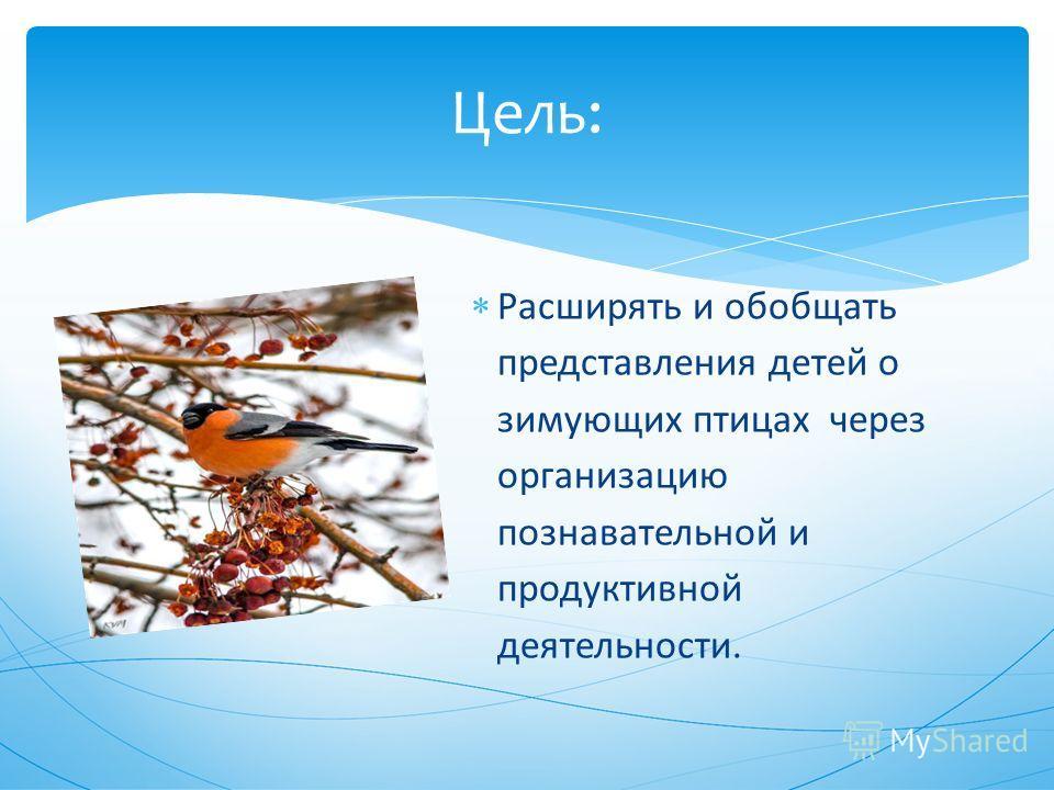 Расширять и обобщать представления детей о зимующих птицах через организацию познавательной и продуктивной деятельности. Цель: