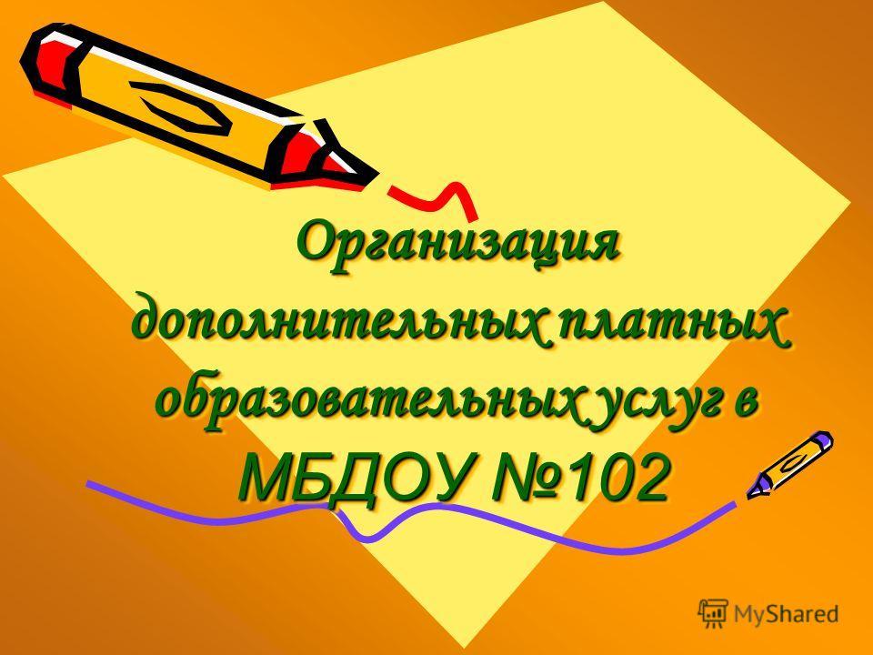 Организация дополнительных платных образовательных услуг в МБДОУ 102