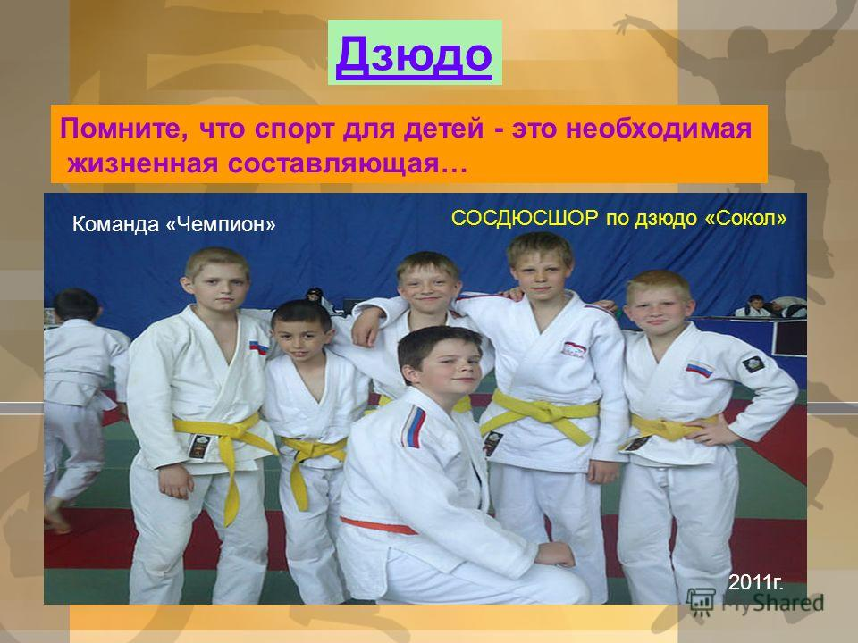 Дзюдо Помните, что спорт для детей - это необходимая жизненная составляющая… СОСДЮСШОР по дзюдо «Сокол» Команда «Чемпион» 2011г.
