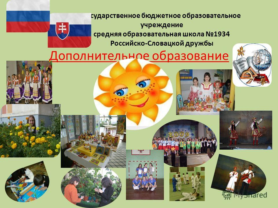 Государственное бюджетное образовательное учреждение средняя образовательная школа 1934 Российско-Словацкой дружбы Дополнительное образование