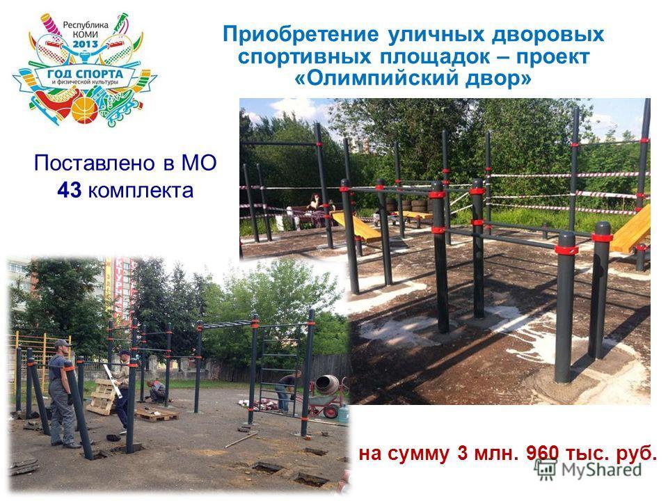 Приобретение уличных дворовых спортивных площадок – проект «Олимпийский двор» Поставлено в МО 43 комплекта на сумму 3 млн. 960 тыс. руб.