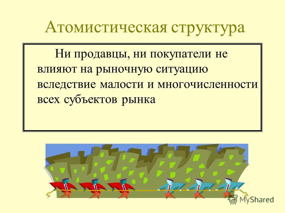 Атомистическая структура Ни продавцы, ни покупатели не влияют на рыночную ситуацию вследствие малости и многочисленности всех субъектов рынка