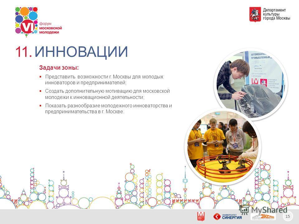 15 ИННОВАЦИИ11. Задачи зоны: Представить возможности г. Москвы для молодых инноваторов и предпринимателей; Создать дополнительную мотивацию для московской молодежи к инновационной деятельности; Показать разнообразие молодежного инноваторства и предпр