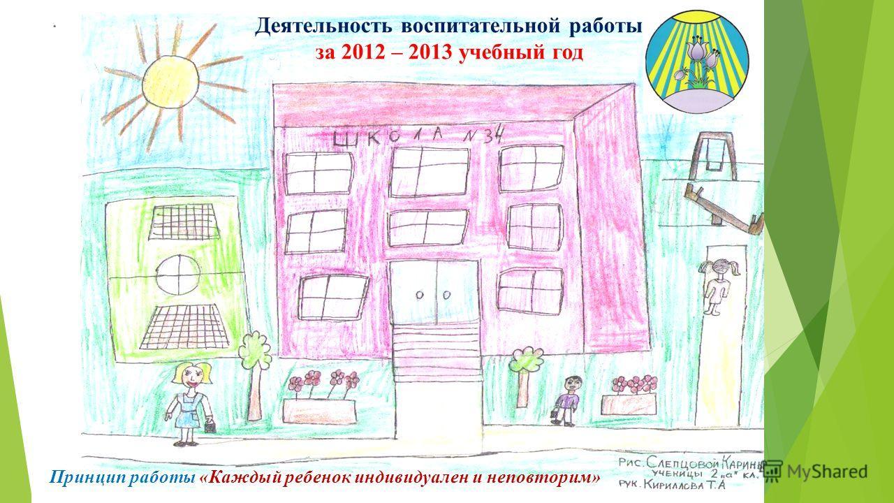 Деятельность воспитательной работы за 2012 – 2013 учебный год Принцип работы «Каждый ребенок индивидуален и неповторим»