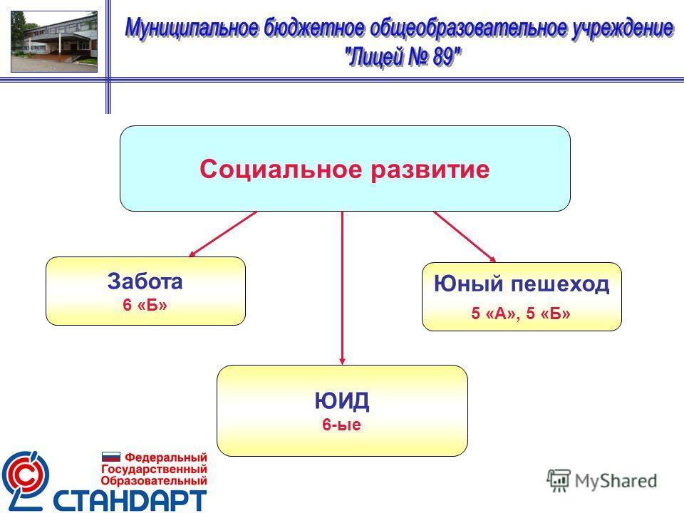 Социальное развитие Забота 6 «Б» ЮИД 6-ые Юный пешеход 5 «А», 5 «Б»