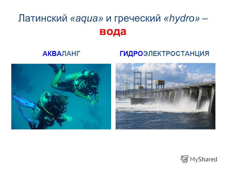 Латинский «aqua» и греческий «hydro» – вода АКВАЛАНГГИДРОЭЛЕКТРОСТАНЦИЯ