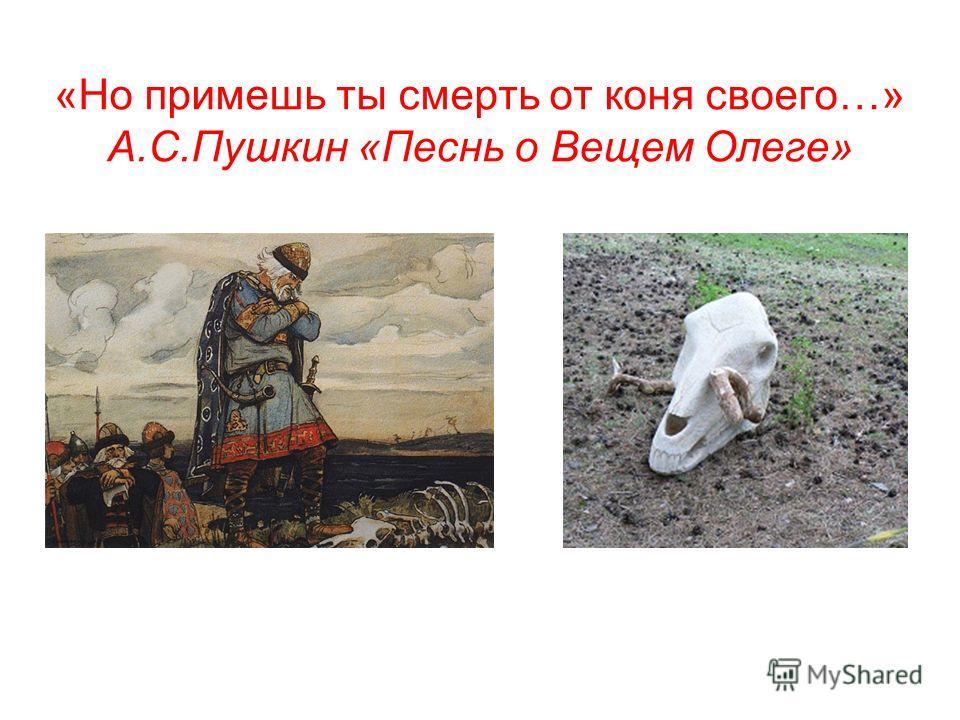 «Но примешь ты смерть от коня своего…» А.С.Пушкин «Песнь о Вещем Олеге»