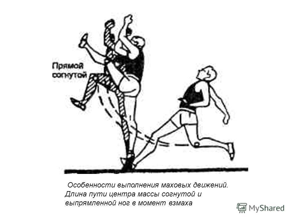 Особенности выполнения маховых движений. Длина пути центра массы согнутой и выпрямленной ног в момент взмаха