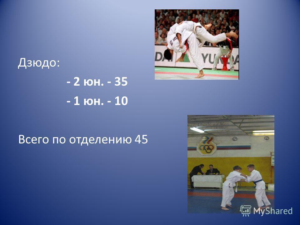 Дзюдо: - 2 юн. - 35 - 1 юн. - 10 Всего по отделению 45