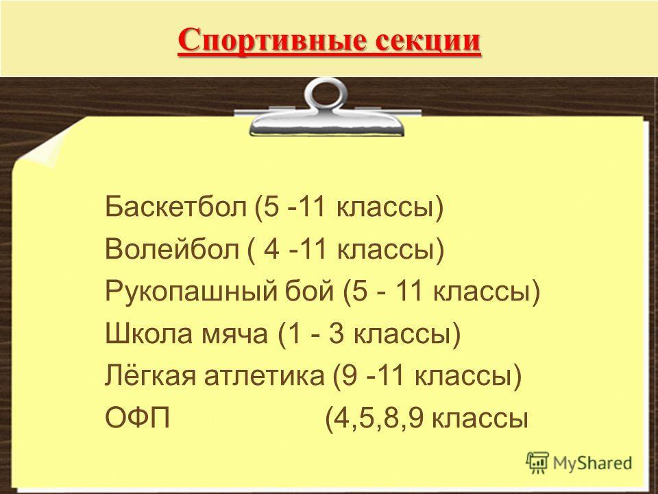 Спортивные секции Баскетбол (5 -11 классы) Волейбол ( 4 -11 классы) Рукопашный бой (5 - 11 классы) Школа мяча (1 - 3 классы) Лёгкая атлетика (9 -11 классы) ОФП (4,5,8,9 классы