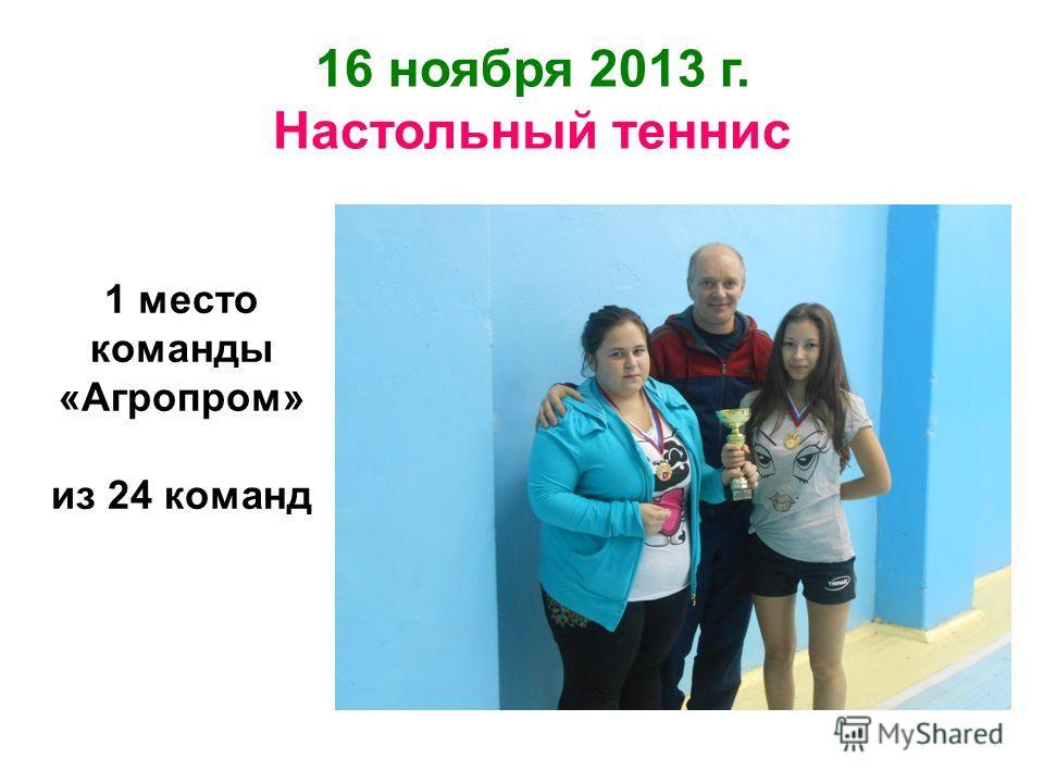 16 ноября 2013 г. Настольный теннис 1 место команды «Агропром» из 24 команд