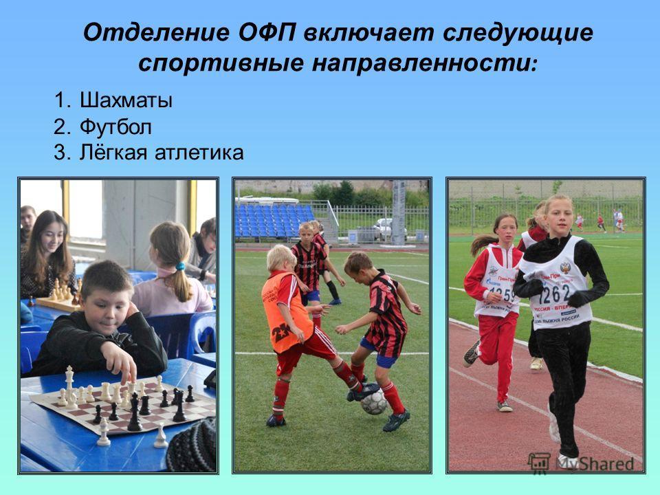Отделение ОФП включает следующие спортивные направленности : 1.Шахматы 2.Футбол 3.Лёгкая атлетика