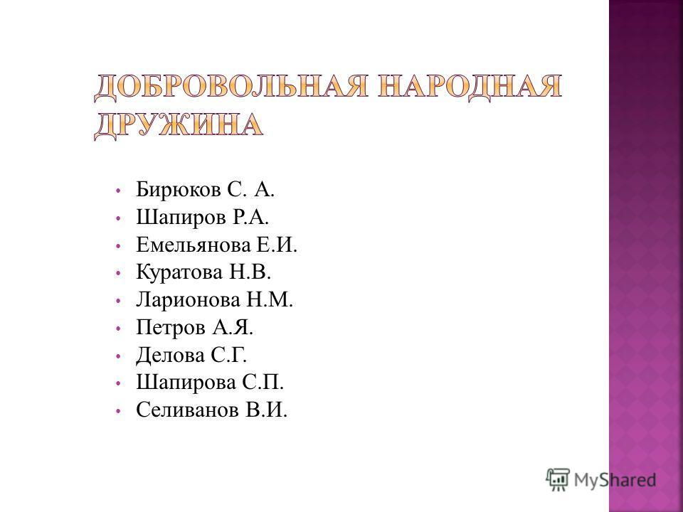 Бирюков С. А. Шапиров Р.А. Емельянова Е.И. Куратова Н.В. Ларионова Н.М. Петров А.Я. Делова С.Г. Шапирова С.П. Селиванов В.И.